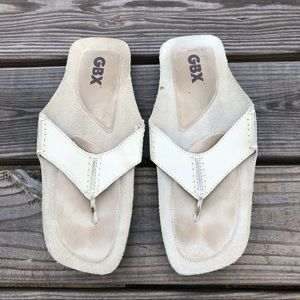 GBX cream suede leather thong flip flops 11